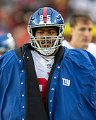 New York Giants defensive end B.J. Hill (95) on the sidelines during the fourth quarter against the Washington Redskins at FedEx Field in Landover, Maryland on Sunday, December 9, 2018.  The Giants won the game 40 - 16.<br /> Credit: Ron Sachs / CNP<br /> (RESTRICTION: NO New York or New Jersey Newspapers or newspapers within a 75 mile radius of New York City)