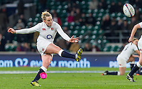 Amber Reed in action, England Women v Ireland Women in a 6 Nations match at Twickenham Stadium, Whitton Road, Twickenham, England, on 27th February 2016