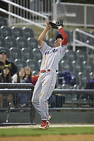 Lakewood BlueClaws third baseman Dalton Guthrie (5) catches a fly ball in foul territory during the game against the Kannapolis Intimidators at Kannapolis Intimidators Stadium on April 6, 2018 in Kannapolis, North Carolina.  The BlueClaws defeated the Intimidators 4-3. (Brian Westerholt/Four Seam Images)