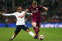 Lucas of Tottenham Hotspur and Kevin De Bruyne of Manchester City during Tottenham Hotspur vs Manchester City, Premier League Football at Wembley Stadium on 14th April 2018