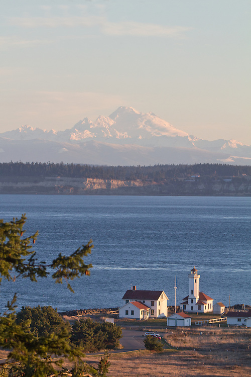 Port Townsend, Mount Baker, Point Wilson Lighthouse, Fort Worden State Park, hiking trails, winter, sunrise, Jefferson County, Olympic Peninsula, Puget Sound, Salish Sea, Washington State, Pacific Northwest, United States,