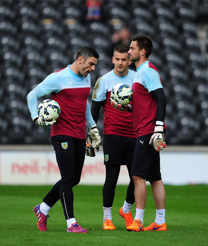Burnley's Matthew Gilks, left, Burnley's Thomas Heaton and Burnley's Alex Cisak during the pre-match warm-up <br /> <br /> Photographer: Chris Vaughan/CameraSport<br /> <br /> Football - Barclays Premiership - Hull City v Burnley - Saturday 9th May 2015 - Kingston Communications Stadium - Hull<br /> <br /> &copy; CameraSport - 43 Linden Ave. Countesthorpe. Leicester. England. LE8 5PG - Tel: +44 (0) 116 277 4147 - admin@camerasport.com - www.camerasport.com