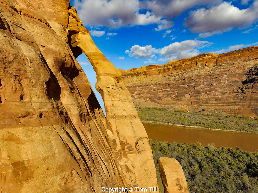 Jughandle Arch.  Colorado River, near Moab, Utah  Large natural sandstone arch near Potash
