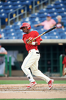 Clearwater Threshers shortstop Malquin Canelo (6) at bat during a game against the Lakeland Flying Tigers on August 5, 2016 at Bright House Field in Clearwater, Florida.  Clearwater defeated Lakeland 3-2.  (Mike Janes/Four Seam Images)