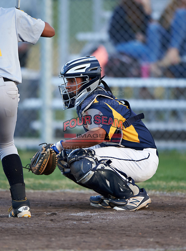 Boca Ciega Pirates catcher Ivan Rodriguez (12) during a game against the Lakeland Spartans at Boca Ciega High School on March 2, 2016 in St. Petersburg, Florida.  Boca Ciega defeated Lakewood 2-1.  (Mike Janes/Four Seam Images)