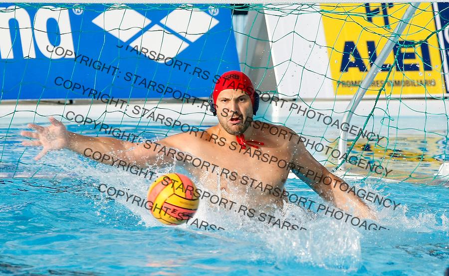 Vaterpolo.Evropsko prvenstvo, Malaga 2008.Srbija (Serbia) Vs. Italy (Italija).Goalkeeper Denis Sefik.Malaga, 07.07.2008.foto: Srdjan Stevanovic