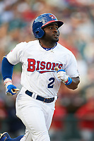 Buffalo Bisons right fielder Dwight Smith Jr. (2) runs to first base on a fly out during a game against the Syracuse Chiefs on July 3, 2017 at Coca-Cola Field in Buffalo, New York.  Buffalo defeated Syracuse 6-2.  (Mike Janes/Four Seam Images)