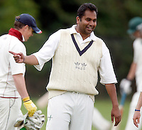 Hornsey captain Chetan Patel has something to smile about during the Middlesex County League Division two game between Shepherds Bush and Hornsey at Bromyard Avenue, East Acton on Sat July 23, 2011
