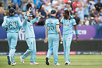 England and Jofra Archer (England) celebrate the wicket of Maxwell during Australia vs England, ICC World Cup Semi-Final Cricket at Edgbaston Stadium on 11th July 2019