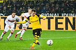 09.03.2019, Signal Iduna Park, Dortmund, GER, 1.FBL, Borussia Dortmund vs VfB Stuttgart, DFL REGULATIONS PROHIBIT ANY USE OF PHOTOGRAPHS AS IMAGE SEQUENCES AND/OR QUASI-VIDEO<br /> <br /> im Bild   picture shows:<br /> Marco Reus (Borussia Dortmund #11) tritt zum Elfmeter an und trifft zum 1:0, <br /> <br /> Foto &copy; nordphoto / Rauch