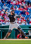 26 September 2018: Miami Marlins catcher Chad Wallach in action against the Washington Nationals at Nationals Park in Washington, DC. The Nationals defeated the visiting Marlins 9-3, closing out Washington's 2018 home season. Mandatory Credit: Ed Wolfstein Photo *** RAW (NEF) Image File Available ***
