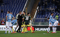 Calcio, Serie A: Lazio vs Milan. Roma, stadio Olimpico, 1 novembre 2015.<br /> AC Milan's coach Sinisa Mihajlovic, third from left, congratulates with his players at the end of the Italian Serie A football match between Lazio and Milan at Rome's Olympic stadium, 1 November 2015. AC Milan won 3-1.<br /> UPDATE IMAGES PRESS/Isabella Bonotto