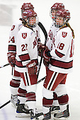 Leanna Coskren (Harvard - 24), Kate Buesser (Harvard - 20), Liza Ryabkina (Harvard - 3), Cori Bassett (Harvard - 18) - The Harvard University Crimson defeated the Northeastern University Huskies 1-0 to win the 2010 Beanpot on Tuesday, February 9, 2010, at the Bright Hockey Center in Cambridge, Massachusetts.