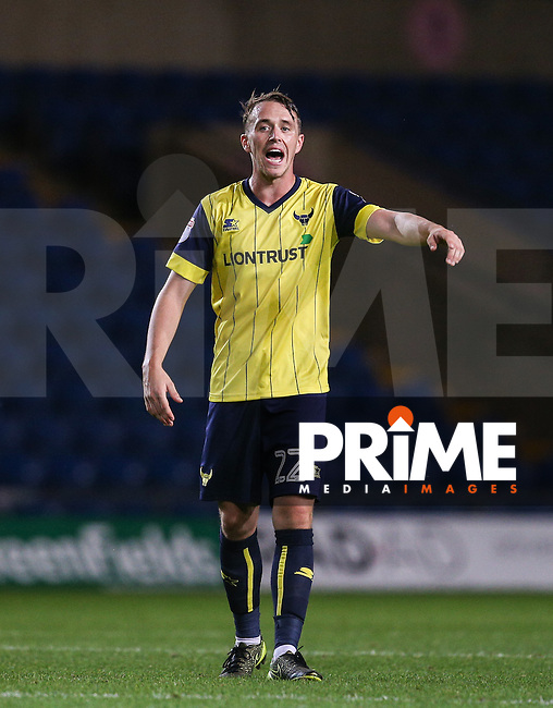 Sam Long of Oxford United during the The Checkatrade Trophy match between Oxford United and Exeter City at the Kassam Stadium, Oxford, England on 30 August 2016. Photo by Andy Rowland / PRiME Media Images.