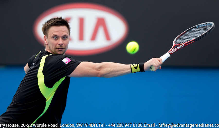 Robin Soderling (SWE) (4) against Potito Starace (ITA) in the first round of the men's singles. Robing Soderling beat Portito Starace 6-4 6-2 6-2. ..... .International Tennis - Australian Open  -  Melbourne Park - Melbourne - Day 1 - Mon 17th January 2011..© Frey - AMN Images, Level 1, Barry House, 20-22 Worple Road, London, SW19 4DH.Tel - +44 208 947 0100.Email - Mfrey@advantagemedianet.com.Web - www.amnimages.photshelter.com