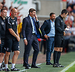 05.08.18 Aberdeen v Rangers: Steven Gerrard looks on as Morelos walks off