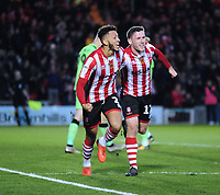 Lincoln City's Kellan Gordon, left, celebrates scoring his side's second goal with Shay McCartan<br /> <br /> Photographer Andrew Vaughan/CameraSport<br /> <br /> The EFL Sky Bet League Two - Lincoln City v Forest Green Rovers - Saturday 3rd November 2018 - Sincil Bank - Lincoln<br /> <br /> World Copyright &copy; 2018 CameraSport. All rights reserved. 43 Linden Ave. Countesthorpe. Leicester. England. LE8 5PG - Tel: +44 (0) 116 277 4147 - admin@camerasport.com - www.camerasport.com