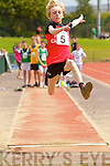 Eoin Lynch, Rock Street,  in the finals of the boys u-14 Long Jump at the Kerry community games athlethics finals at an Riocht, Castleisland on Sunday.