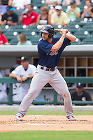 Blake Swihart (2) of the Pawtucket Red Sox at bat against the Charlotte Knights at BB&T Ballpark on August 8, 2014 in Charlotte, North Carolina.  The Red Sox defeated the Knights  11-8.  (Brian Westerholt/Four Seam Images)