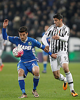 Calcio, Serie A: Juventus vs Sassuolo. Torino, Juventus Stadium, 11 marzo 2016. <br /> Sassuolo's Lorenzo Pellegrini, left, is challenged by  Juventus' Alvaro Morata during the Italian Serie A football match between Juventus vs Sassuolo, at Turin's Juventus Stadium, 11 March 2016.<br /> UPDATE IMAGES PRESS/Isabella Bonotto