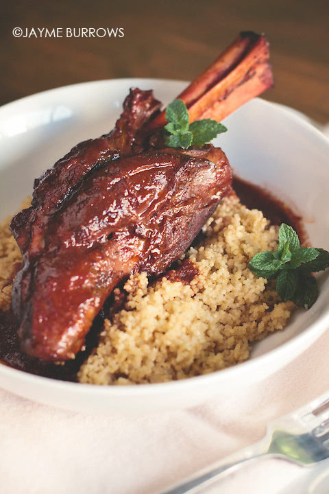 Indian spiced, braised lamb shank over cous cous.