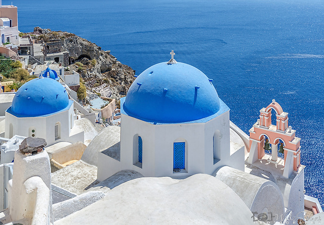 Blue dome church of Oia, Santorini, Greece