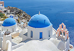 Blue dome church of Oia, Santorini, Greece