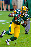 Green Bay Packers running back Devante Mays (32) during a preseason football game against the Philadelphia Eagles on August 10, 2017 at Lambeau Field in Green Bay, Wisconsin. Green Bay defeated Philadelphia 24-9.  (Brad Krause/Krause Sports Photography)