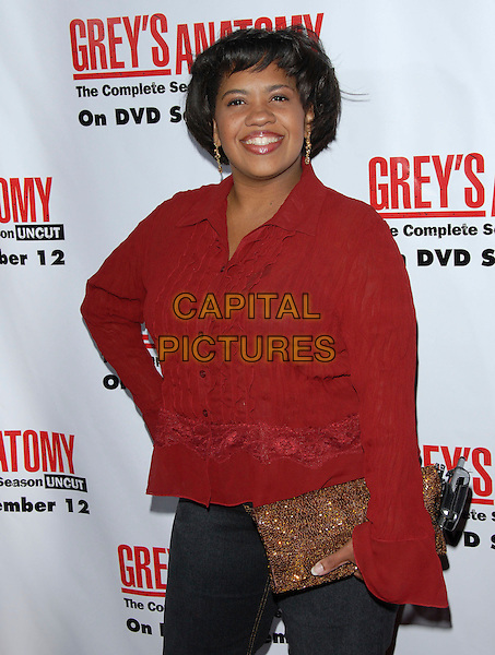 CHANDRA WILSON.The Grey's Anatomy 2nd Season DVD Launch held at Social in Hollywood, California, USA..September 5th, 2006.Ref: DVS.half length red jacket top gold clutch purse.www.capitalpictures.com.sales@capitalpictures.com.©Debbie VanStory/Capital Pictures