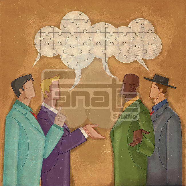 Illustrative image of multi ethnic business people communicating