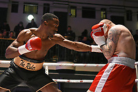 Adrian Redman (black shorts) defeats Lewis van Poetsch during a Boxing Show at York Hall on 3rd March 2018