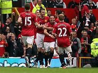 Pictured: Nemanja Vidic (L), Javier Hernandez (C) and Paul Scholes (R).<br /> Sunday 12 May 2013<br /> Re: Barclay's Premier League, Manchester City FC v Swansea City FC at the Old Trafford Stadium, Manchester.