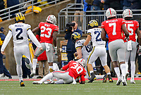 Michigan Wolverines wide receiver Nate Schoenle (81) recovers a kick-off after Ohio State Buckeyes running back Demario McCall (30) couldn't catch the kick in the 2nd quarter of their game at Ohio Stadium in Columbus, Ohio on November 24, 2018. [Kyle Robertson/Dispatch]