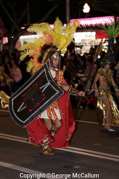 Man dressed as Roman Legionary at Carnival of Santa Cruz de Tenerife, Canary Islands, Spain