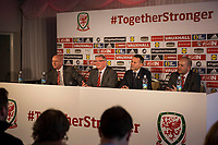 Ryan Giggs faces the press with FAW chief executive Jonathan Ford (far right) and FAW President David Griffiths (second left) and FAW Head of External Affairs Ian Gwyn Hughes (far left) as he is unveiled as the new Wales National team Manager at Hensol Castle, Vale of Glamoran, on 15 January 2018. Photo by Mark Hawkins.
