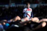 Danny Cipriani of Sale Sharks looks on during the Aviva Premiership match between London Wasps and Sale Sharks at Adams Park on Saturday 1st March 2014 (Photo by Rob Munro)