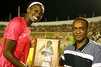 Dawn Harper accepting her award at the Jamaica International Invitational Meet on Saturday, May 2nd. 2009. Photo by Errol Anderson,The Sporting Image.net