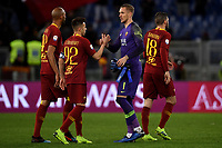 Steven Nzonzi , Stephan El Shaarawy , Patrick Robin Olsen, Davide Santon of AS Roma celebrate at the end of the match <br /> Roma 11-3-2019 Stadio Olimpico Football Serie A 2018/2019 AS Roma - Empoli<br /> Foto Andrea Staccioli / Insidefoto