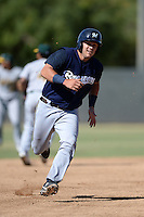 Milwaukee Brewers catcher Dustin Houle (16) runs the bases during an Instructional League game against the Oakland Athletics on October 10, 2013 at Maryvale Baseball Park Training Complex in Phoenix, Arizona.  (Mike Janes/Four Seam Images)