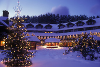 country inn, resort, Stowe, Trapp Family Lodge, TFL, Vermont, VT, Christmas lights decorate the Trapp Family Lodge in the evening in Stowe in the winter.