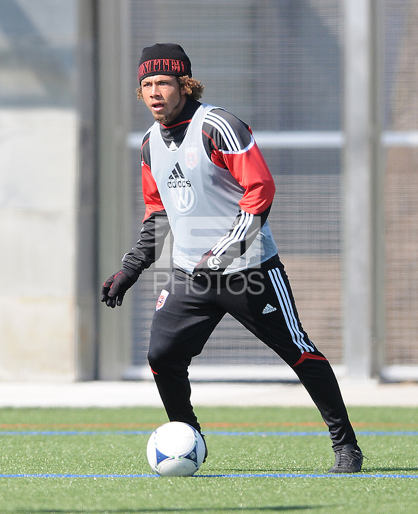D.C. United midfielder Nick DeLeon (18) During the first training session after returning from Arizona, at Long Bridge Park in Arlington Virginia, Monday February 20, 2012.