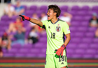 ORLANDO, FL - MARCH 05: Ayaka Yamashita #18 yells to her team during a game between Spain and Japan at Exploria Stadium on March 05, 2020 in Orlando, Florida.