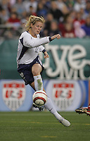 06 November,  2004.   USWNT forward Cindy Parlow (12) shoots the ball against Denmark at  Lincoln Financial Field in Philadelphia, Pa.