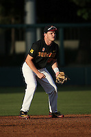 John Thomas #25 of the Southern California Trojans in the field at shortstop during a game against the Coppin State Eagles at Dedeaux Field on February 18, 2017 in Los Angeles, California. Southern California defeated Coppin State, 22-2. (Larry Goren/Four Seam Images)