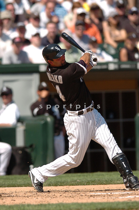 PAUL KONERKO, of the Chicago White Sox, in action during the White Sox game against the Los Angeles Angels in Chicago, Illinois on April 29, 2007...Angels win 5-2...CHRIS BERNACCHI/ SPORTPICS..