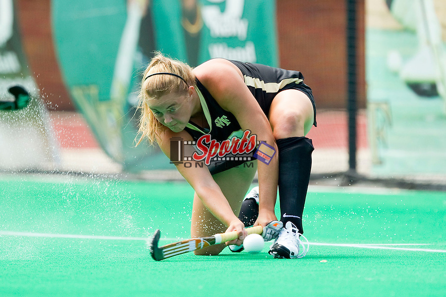 Jess McFadyen (13) of the Wake Forest Demon Deacons fires a shot on goal during first half action against the Iowa Hawkeyes at Kentner Stadium on August 25, 2012 in Winston-Salem, North Carolina.  The Hawkeyes defeated the Demon Deacons 3-2 in overtime.  (Brian Westerholt / Sports On Film)