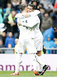 Real Madrid's Sergio Ramos and Cristiano Ronaldo celebrate goal during La Liga match. February 13,2016. (ALTERPHOTOS/Acero)