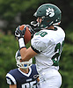 Dilon Smith #20 of Lindenhurst catches a pass during a Suffolk County Division I varsity football game against Northport at Glenn High School on Saturday, Sept. 2, 2017.