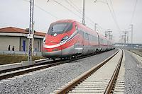 Treviglio (Brescia) - 17/10/2016 - viaggio prova sulla nuova linea Alta Velocità/Alta Capacità Treviglio-Brescia, parte integrante del Corridoio Europeo TENT-T Mediterraneo.