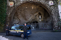 Grotto of Our Lady of Lourdes<br /> is an artificial cave in the Vatican gardens.The Vatican's gendarme corps  of Vatican City State (Italian: Corpo della Gendarmeria dello Stato della Città del Vaticano) is the gendarmerie, or police and security force, of Vatican City and the extraterritorial properties of the Holy See.<br /> The 130-member corps is led by an Inspector General, currently Domenico Giani,The corps is responsible for security, public order, border control, traffic control, criminal investigation, and other general police duties in Vatican City.March 14, 2018